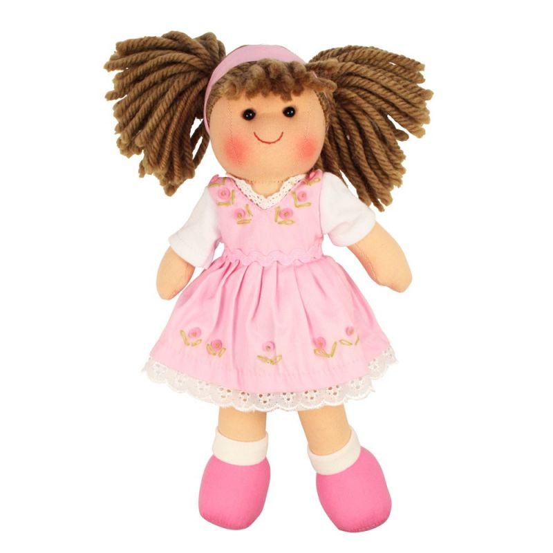 Dřevěné hračky Bigjigs Toys Látková panenka Rose 28 cm