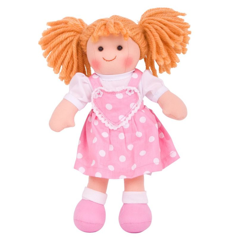 Dřevěné hračky Bigjigs Toys Látková panenka Ruby 28 cm