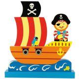 Dřevěné hračky Bigjigs Toys Magnetické puzzle pirátská loď