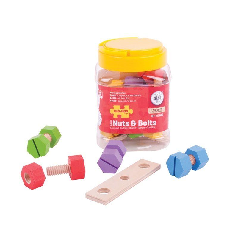 Dřevěné hračky Bigjigs Toys Dřevěný spojovací materiál v dóze