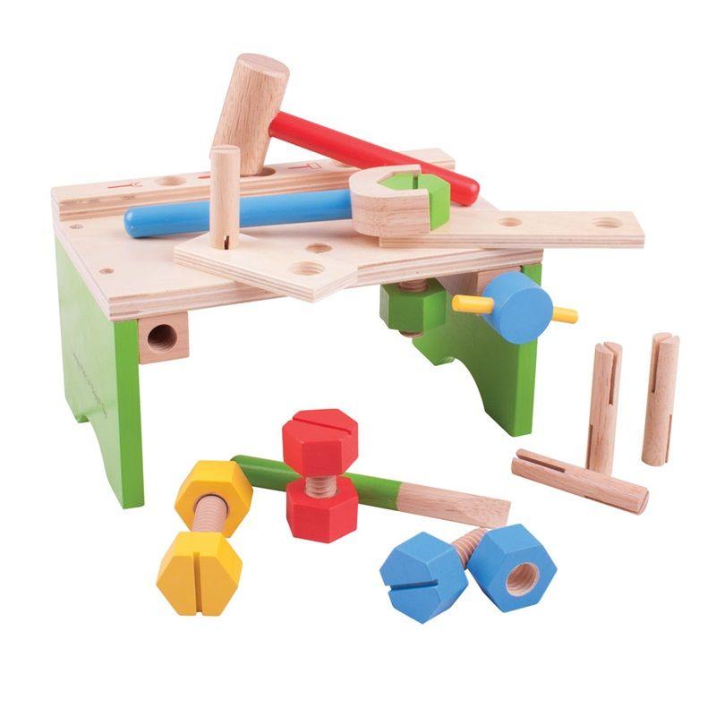 Dřevěné hračky Bigjigs Toys Ponk s nářadím a zatloukačka