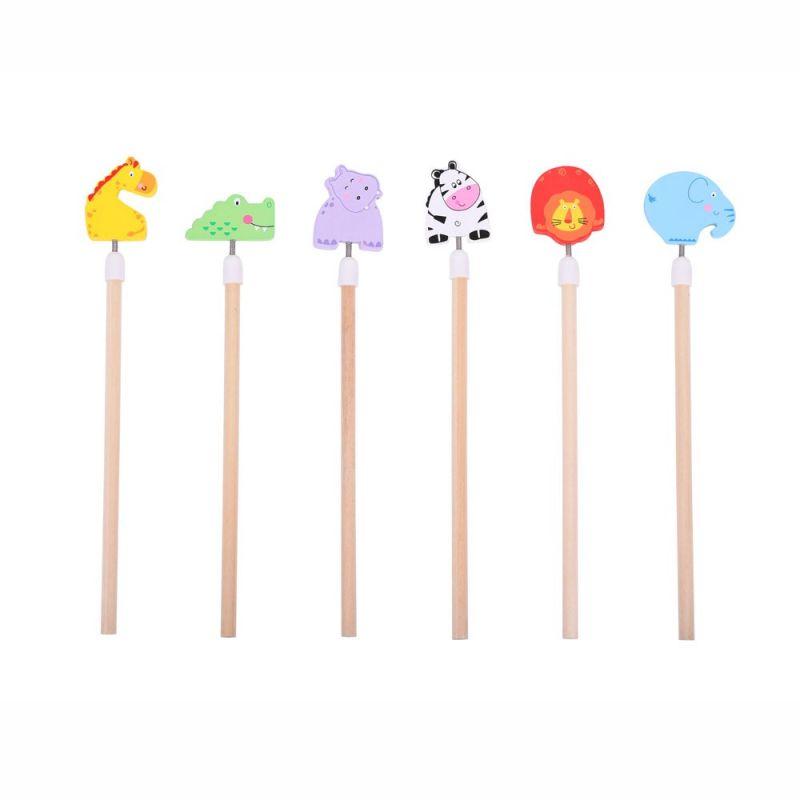 Dřevěné hračky Bigjigs Toys Veselá tužka Safari 1ks