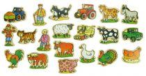 Dřevěné dekorace - dřevěné magnetky - Farma 20ks