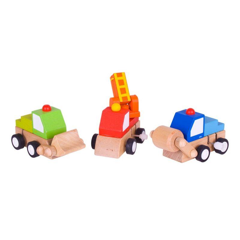 Dřevěné hračky Bigjigs Toys Dřevěná barevná autíčka na natahování