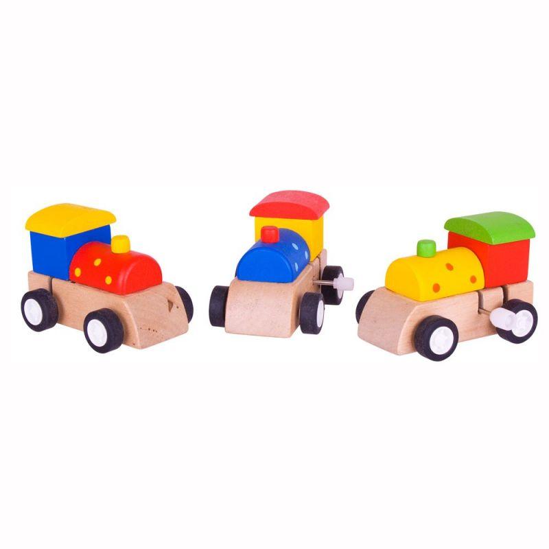 Dřevěné hračky Bigjigs Toys Dřevěná barevná mašinka na natahování 1ks