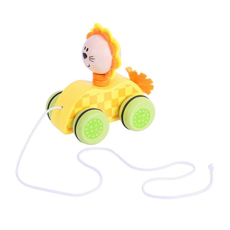 Dřevěné hračky Bigjigs Toys Tahací hračka na provázku lvíček