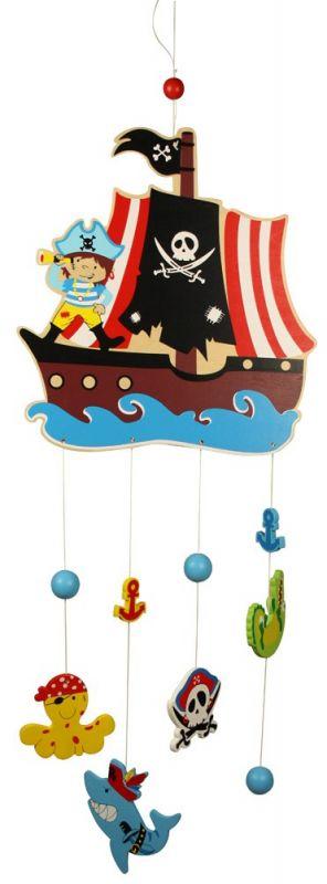 Dřevěné hračky Bigjigs Toys Dřevěný závěsný kolotoč Piráti