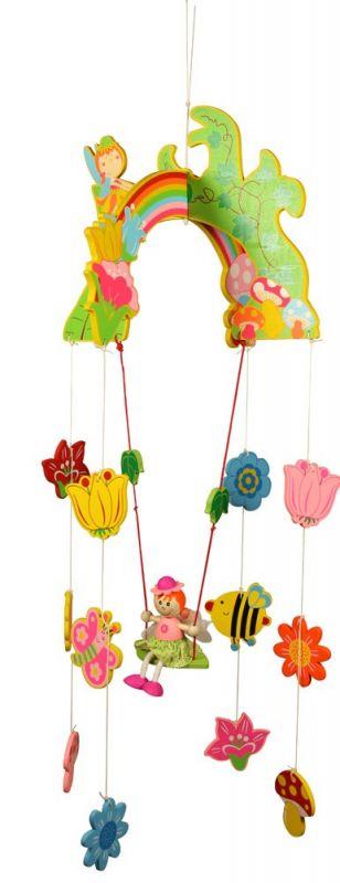 Dřevěné hračky Bigjigs Toys Dřevěný závěsný kolotoč Víla s květy