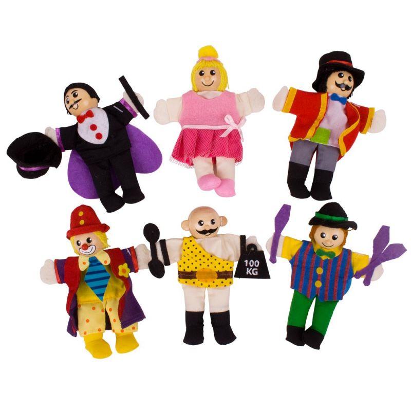 Dřevěné hračky Bigjigs Toys Prstoví maňásci sada Cirkusoví baviči