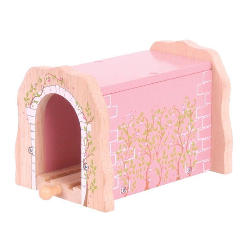 Dřevěné hračky Bigjigs Rail Růžový železniční tunel