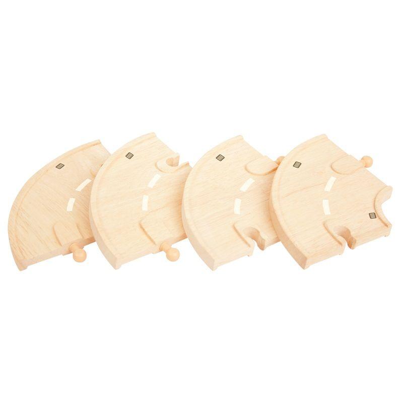 Dřevěné hračky Bigjigs Rail Dřevěné autodráhy zatáčka 4ks