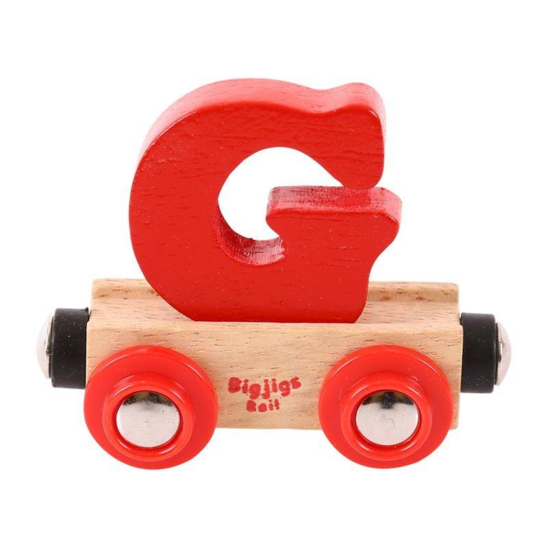 Dřevěné hračky Bigjigs Rail vagónek dřevěné vláčkodráhy - Písmeno G