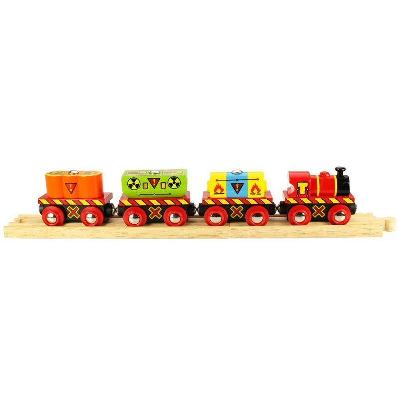 Dřevěné hračky Bigjigs Rail Vláček s nebezpečným nákladem + 2 koleje