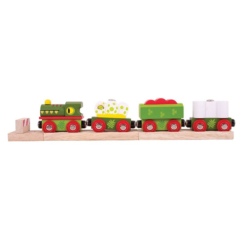 Dřevěné hračky Bigjigs Rail Dinosauří vláček + 3 koleje