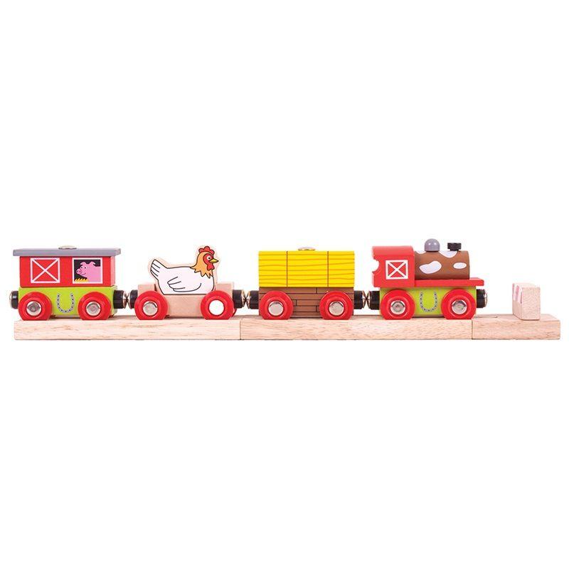 Dřevěné hračky Bigjigs Rail Vláček farma + 3 koleje