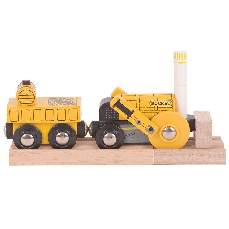 Dřevěné hračky Bigjigs replika historické lokomotivy Rocket + 2 koleje Bigjigs Rail