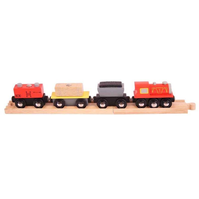 Dřevěné hračky Bigjigs Rail Nákladní vlak + koleje