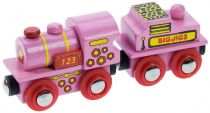 Bigjigs Rail Růžová mašinka s tendrem