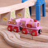Dřevěné hračky Dřevěná vláčkodráha Bigjigs - Růžová mašinka s tendrem Bigjigs Rail