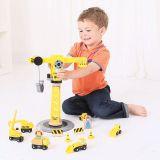 Dřevěné hračky Bigjigs Rail Jeřáb a stavební stroje