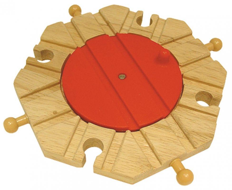 Dřevěné hračky Bigjigs Rail dřevěná vláčkodráha Točna s 8 výjezdy