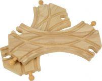 Dřevěné hračky Bigjigs Rail Spojená symetrická výhybka 2ks