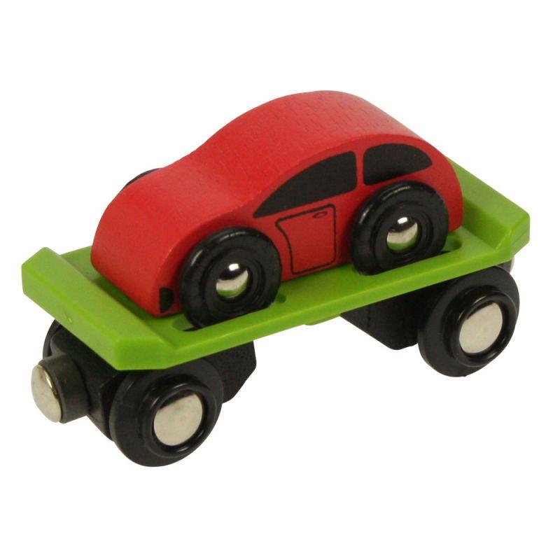 Dřevěné hračky Bigjigs Rail Vagon s autem + 2 koleje