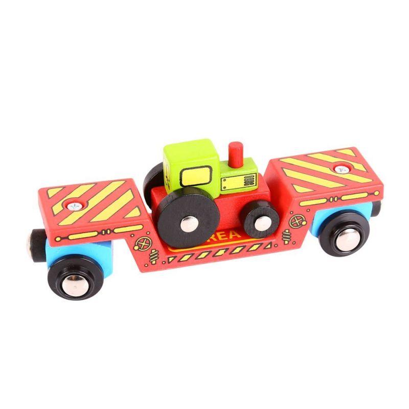 Dřevěné hračky Bigjigs Rail Vagon s traktorem + 2 koleje