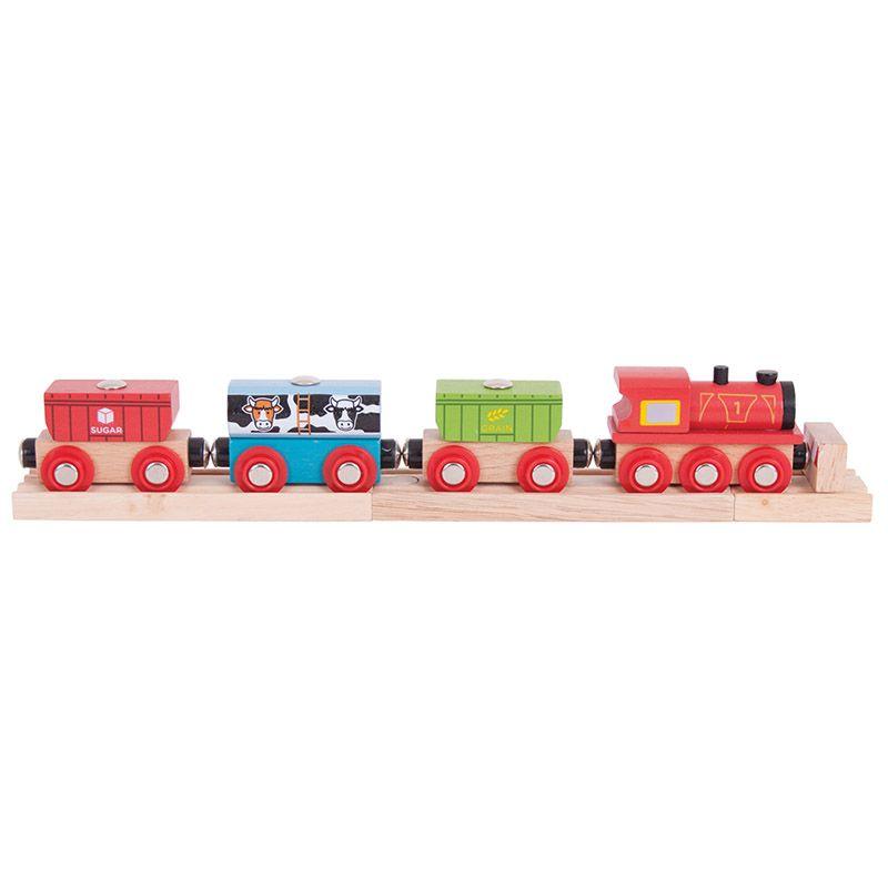 Dřevěné hračky Bigjigs Rail Vlak s potravinami
