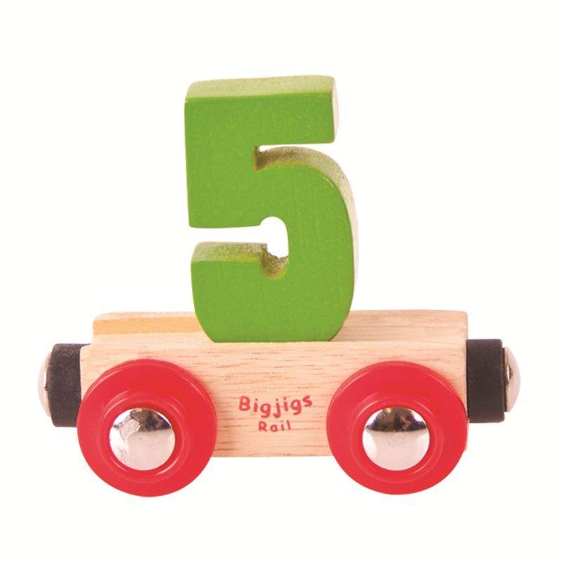 Dřevěné hračky Bigjigs Rail vagónek dřevěné vláčkodráhy - Číslo 5
