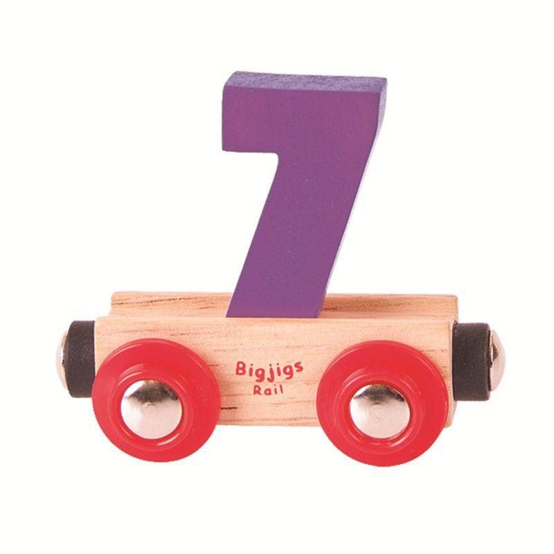 Dřevěné hračky Bigjigs Rail vagónek dřevěné vláčkodráhy - Číslo 7