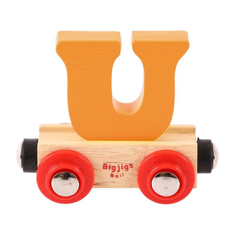 Dřevěné hračky Bigjigs Rail vagónek dřevěné vláčkodráhy - Písmeno U