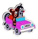 Dřevěné dekorační magnetky - magnetka Krtek v autě