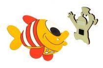 Dřevěné dekorační magnetky - magnetka Ryba červená