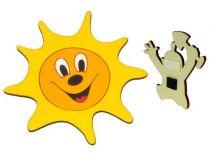 DoDo Dřevěná dekorační magnetka sluníčko