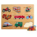 Dřevěné vkládací puzzle dopravní prostředky F
