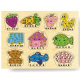 Dřevěné hračky - Vkládací puzzle - Matematika počítání do 10