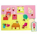 Dřevěné hračky Vkládací puzzle Vkládačka Dětský pokojíček B