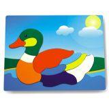 Dřevěné vkládací puzzle kachna divoká