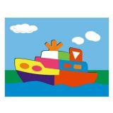 Dřevěné vkládací puzzle loď parník
