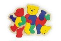 Dřevěné vkládací puzzle medvídci