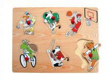 Dřevěné hračky - Vkládací puzzle - Zvířátka sportují