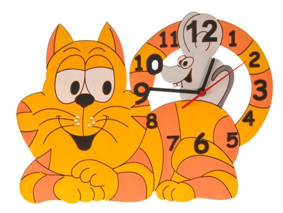 Dřevěné hračky DoDo Dětské dřevěné hodiny kočka s myškou
