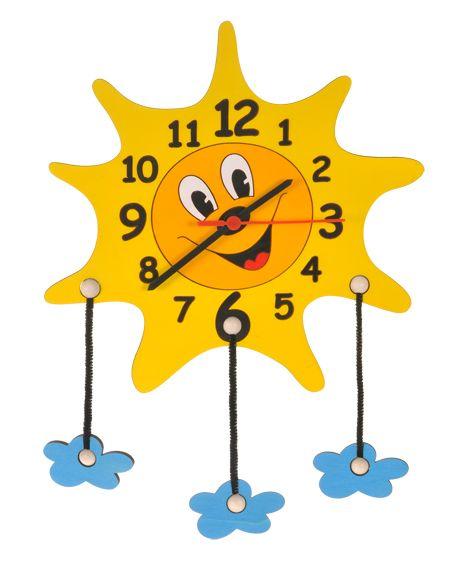 Dřevěné hračky DoDo Dětské dřevěné hodiny sluníčko s mráčky