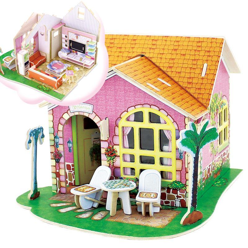 Dřevěné hračky Dřevěná skládačka Vila snů - obývací pokoj RoboTime