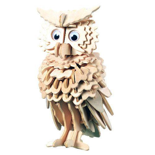 Dřevěné hračky Woodcraft Dřevěné 3D puzzle sova Woodcraft construction kit
