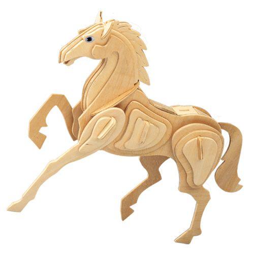 Dřevěné hračky Woodcraft Dřevěné 3D puzzle kůň Woodcraft construction kit