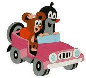 Dřevěné dekorace - Velká dekorace Krtek v autě