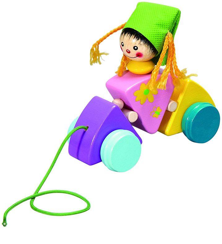 Dřevěné hračky HJ Toys Tahací hračka vozík holčička