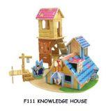 Dřevěné skládačky 3D puzzle - Domeček s věží